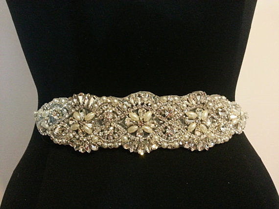Свадьба - SALE Wedding Belt, Bridal Belt, Sash Belt, Crystal Rhinestone Sash , crystal & pearl