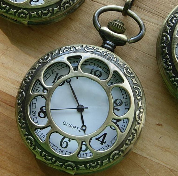 Mariage - Gold Pocket Watch with Chain Quartz Groomsmen Gift Ships from Canada