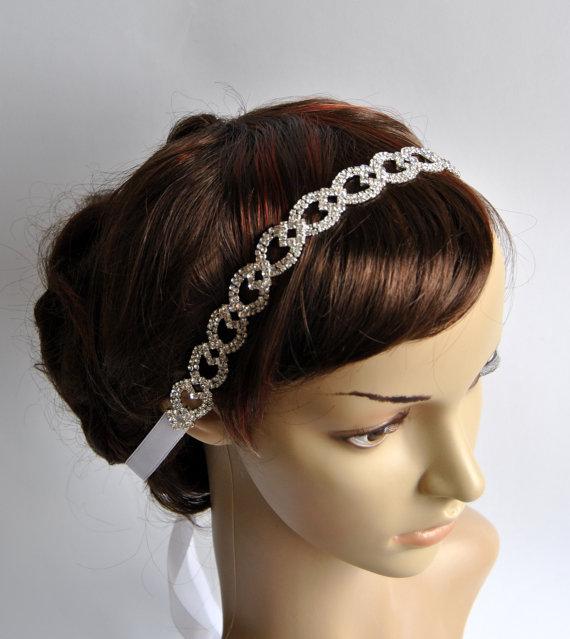 Mariage - Crystal Luxury  Rhinestone Tie on Headband headpiece, Prom Headband, Wedding Headband, ribbon headband, Bridal rhinestone head piece
