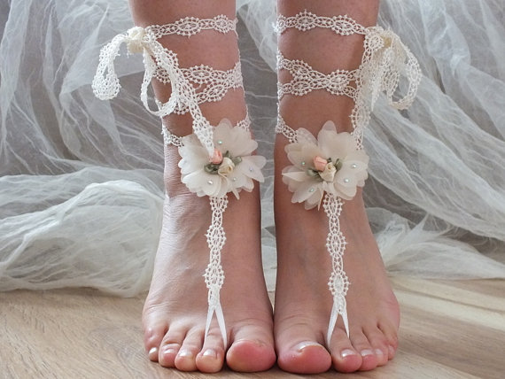 Mariage - Free ship ivory lace barefoot sandals, Beach shoes, 3D  flower lace  sandals,  sandals,  wedding shoes, summer wear, handmade