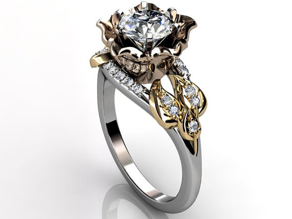 Свадьба - 14k three tone white, rose and yellow gold diamond unusual flower engagement ring, bridal ring, wedding ring ER-1078-8