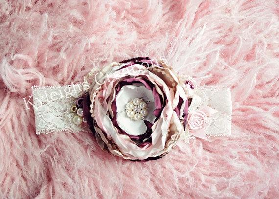 Hochzeit - Baby headband, photography prop, newborn large headband, 6 month headband, 3 month headband, shabby chic baby