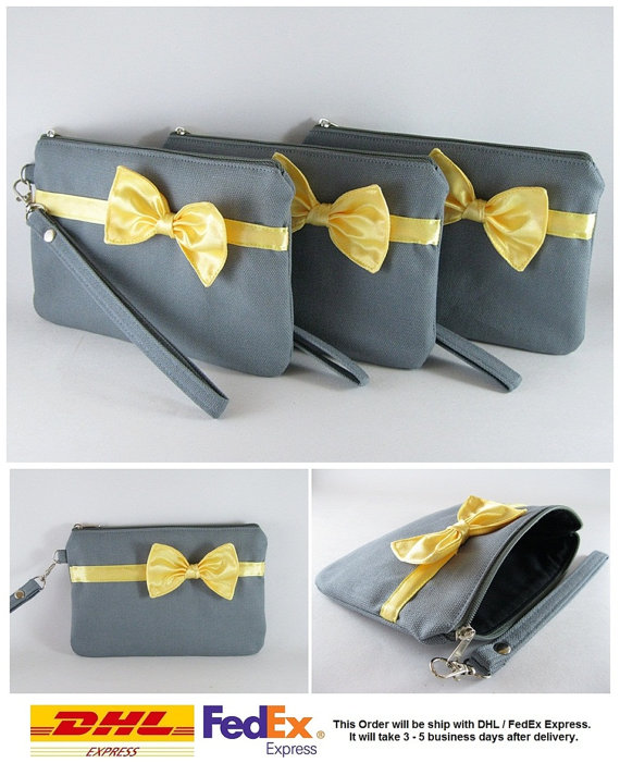 Mariage - SUPER SALE - Set of 6 Gray with Little Yellow Bow Clutches - Bridal Clutches, Bridesmaid Bag, Wedding Gift, Zipper Pouch - Made To Order