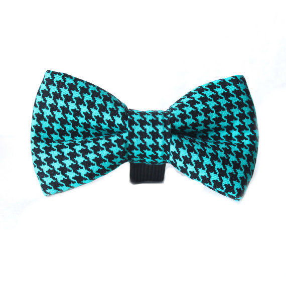 زفاف - Dog Bow Tie, Blue turquoise, Houndstooth Dog Bow
