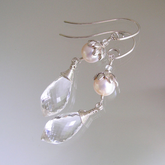 Mariage - Pearl and Crystal Sterling Earrings, Wire Wrapped Linear Dangles, Silver Petals, White Jewelry, Bridal Earrings, Original Design