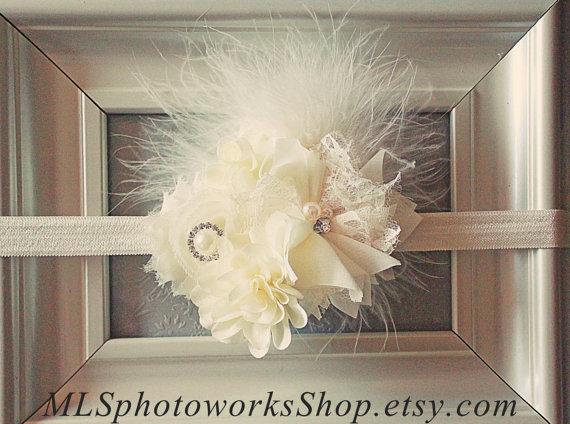 Mariage - The Ivory Fusion Headband - Vintage Style Feather, Flower & Rhinestone Baby Girl Headband - Ivory Wedding Hair Accessory