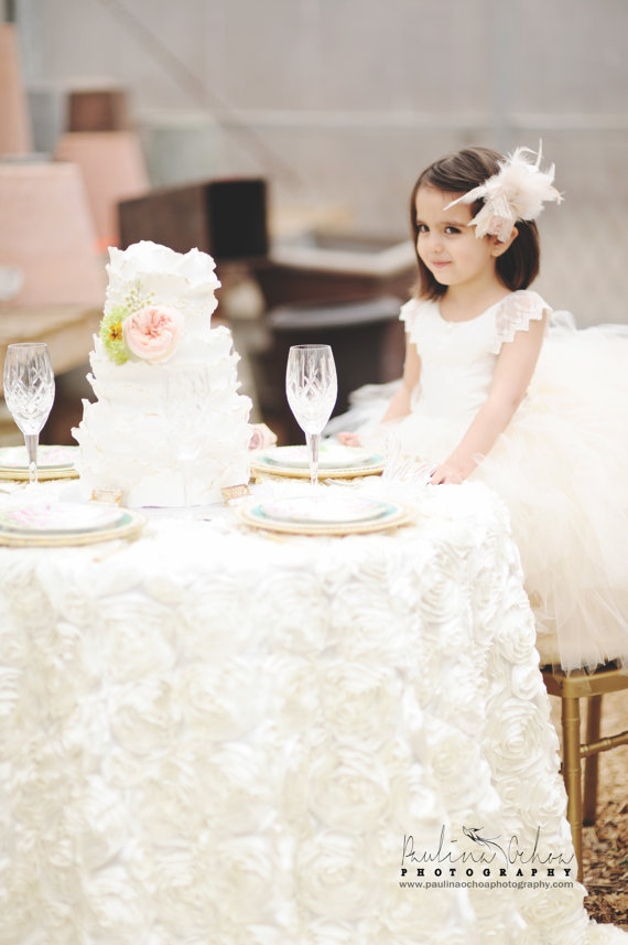 Mariage - flower girl dress, vintage flower girl tutu dress, custom ivory lace tutu dress