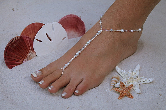 Hochzeit - Barefoot Sandal - Simply Elegant  White Pearls and Silver Beads Destination Wedding, Beach Wedding, Bridal Beach Sandal, Bridal Shoes