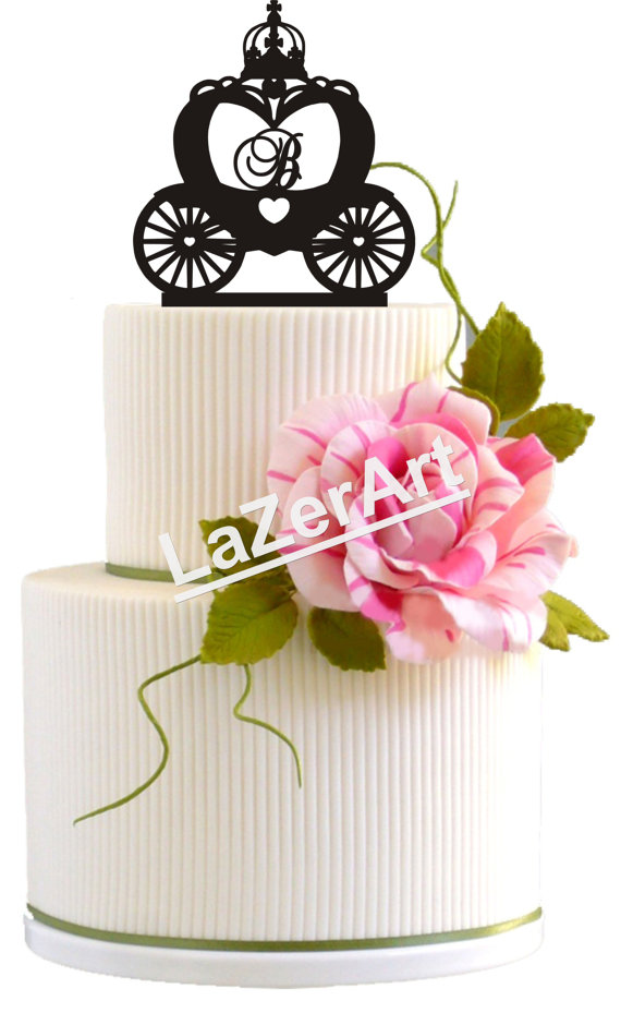 Wedding Cake Topper Cinderella Carriage With Initial Birthday