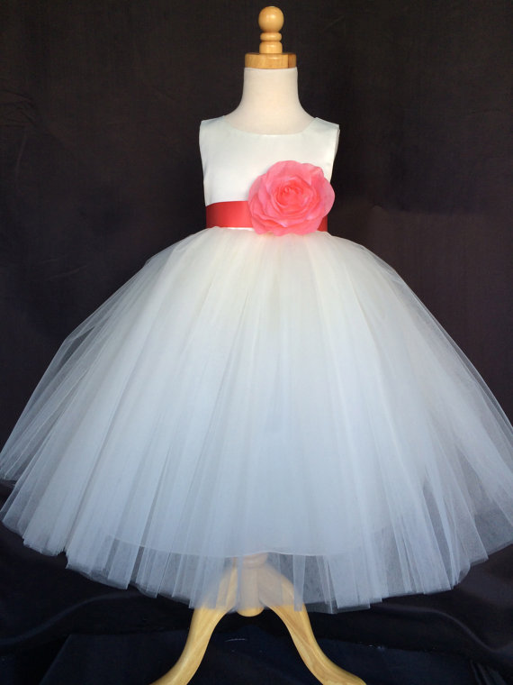 Wedding - Ivory Wedding Bridal Bridesmaids Tulle Flower Girl dress Toddler 9 12 18 24 Months 2 4 6 8 10 12 14 Sash Color 24
