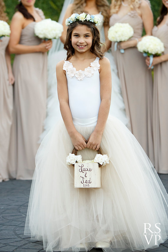 Nude Flower Girl Dress- Flower Girl Dresses- Tulle Skirt- Flower ...
