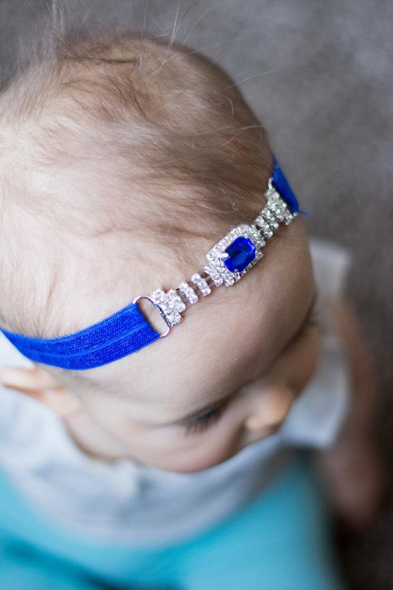 Mariage - Royal Blue connector headband lace elastic rhinestone buckle silver metal headband bling cobalt blue jewel bridal wedding girl diamond baby
