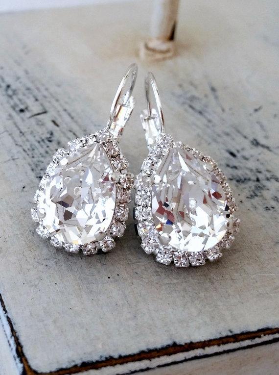 Mariage - Clear crystal Swarovski halo rhinestones earrings, Bridal earrings, Silver or gold plated Drop earrings, Bridesmaids jewelry, Dangle earring
