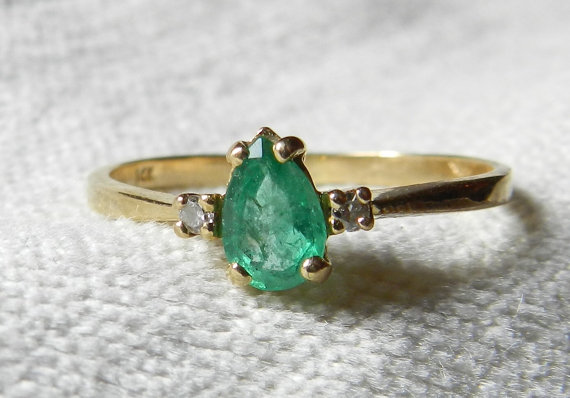 Hochzeit - Emerald Engagement Ring .70 Carat 14K Emerald Ring with Genuine Diamond Accents 14K  May Birthday Gift