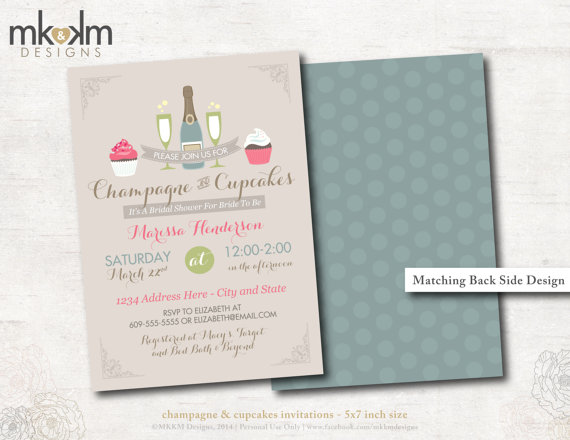 Mariage - Bridal Shower Invitation : Champagne and Cupcakes Bridal Shower - Shabby Chic Bridal Shower - Wedding Shower - Bride To Be - #3104