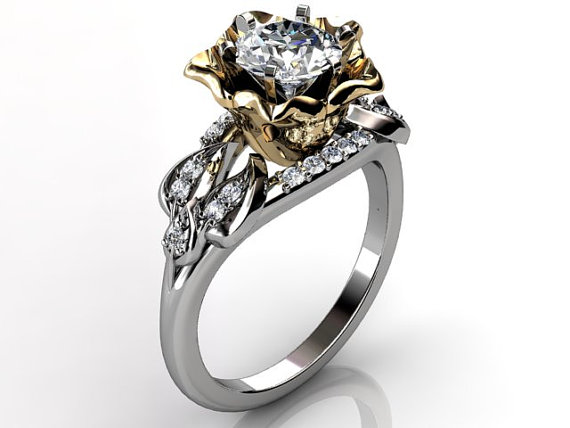 Mariage - 14k two tone white and yellow gold diamond unusual unique flower engagement ring, bridal ring, wedding ring ER-1078-4