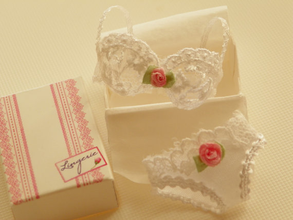 Mariage - dollhouse miniature white bra in tulle with panties in 1:12 scale- miniature lingerie
