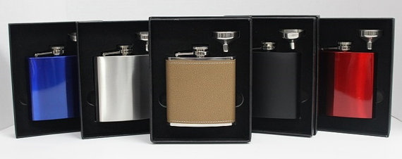 Mariage - Groomsmen Gift - Set of 5 Flasks & Funnels - Hip Flask - Gift Box Included - Wedding Gift - Personalized - Gift For Groom - Laser Engraved