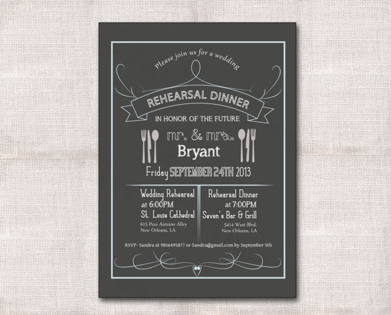 Wedding - Rehearsal Dinner Custom Printable Invitation 5x7