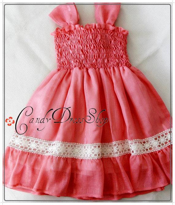Girls Coral Orange Dress Organic Cotton And Silk Dress Flower