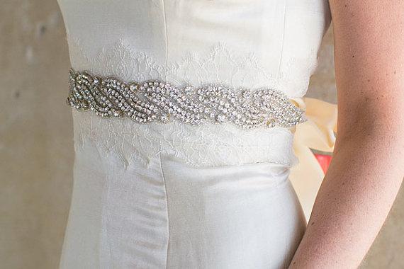 Mariage - SAMPLE SALE Rhinestone Wave Bridal Sash, Crystal Wedding Belt, Sparkly Crystal Sash - Celia - SA604