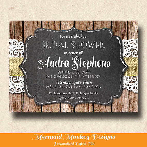زفاف - Rustic Bridal Shower Invitation, Burlap Lace Invitation, Wedding Shower Invitation, Chalkboard Invitation, Printable Invite - Audra