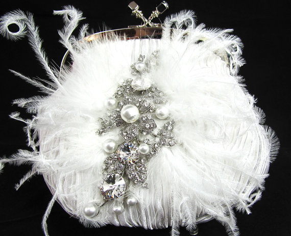 Mariage - White Pearl Feather Crystal Bridal Clutch,  White Crystal Pearl Wedding Purse, White Pearl Feather Crystal Evening Clutch