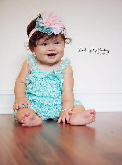 5dd5bd287002 Baby Aqua Teal And Pink Headband Romper SET