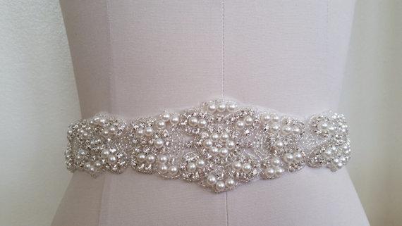 Mariage - SALE -22 INCHES Beaded portion - Wedding Belt, Bridal Belt, Sash Belt, Crystal Rhinestones & Pearls - Style B29978L