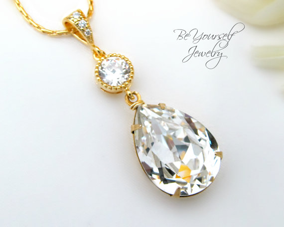 Gold bridal necklace swarovski crystal teardrop necklace sparkly gold bridal necklace swarovski crystal teardrop necklace sparkly white crystal pendant gold wedding jewelry bridesmaid gift cubic zirconia aloadofball Gallery