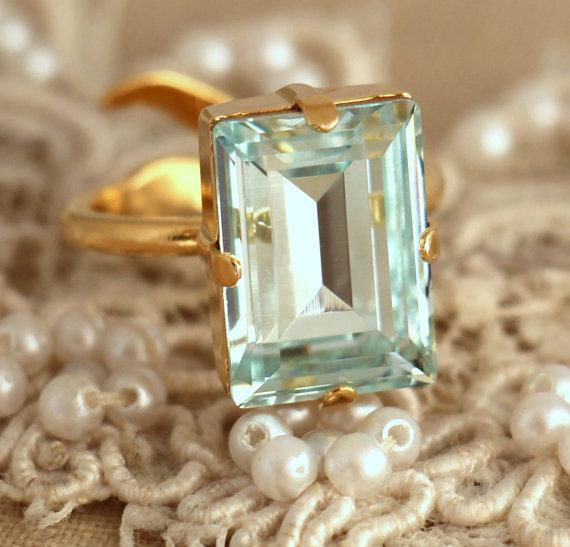 Mariage - Aquamarine Crystal Ring, Emerald Cut Swarovski Ring, Rhinestone Square Gold Ring, Gift for woman, Wedding jewelry, Trending jewelry.