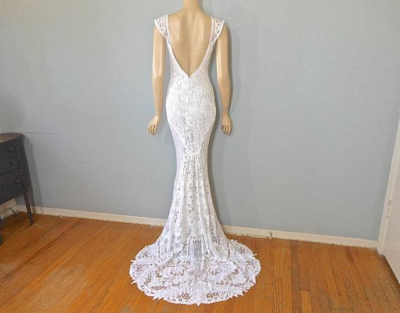 Reserved jade lace mermaid wedding dress hippie boho for Bohemian mermaid wedding dress