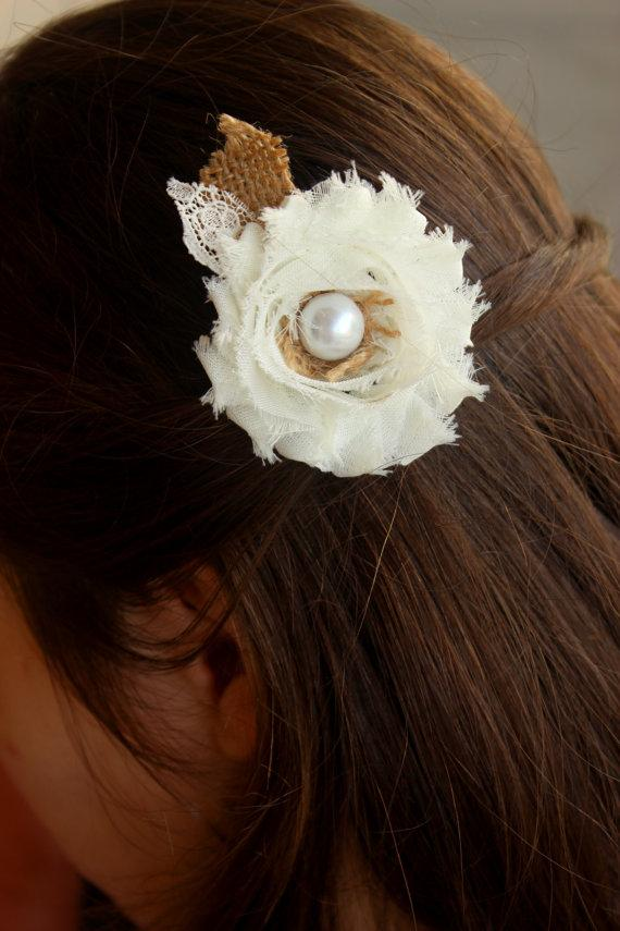 Wedding - Burlap and Lace Country Wedding Hairpiece, Rustic Western Wedding Hair Clip - Burlap Flowers Wedding Hair Accessory, Wedding Hair Flower