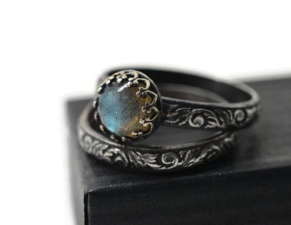 Labradorite Ring Wedding Set Renaissance Style Engagement Ring