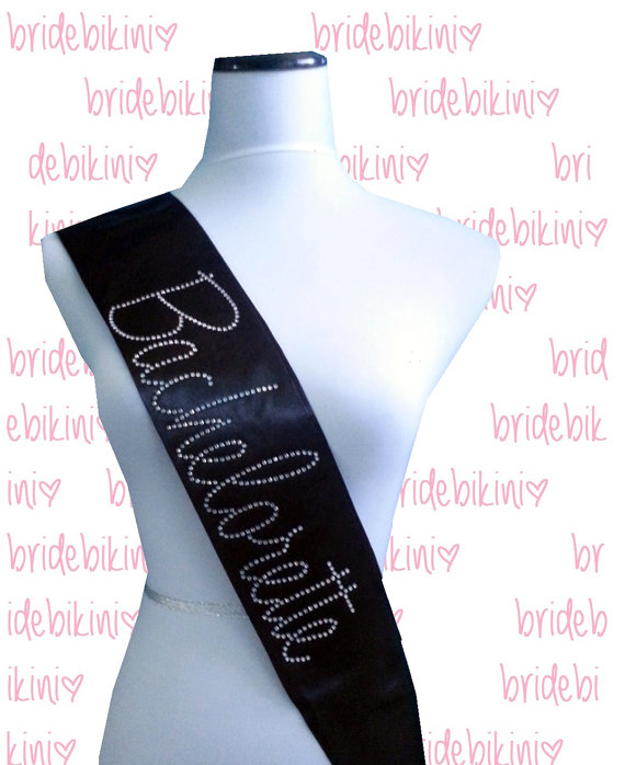 Satin Bride Sash Bridal Party Bachelorette Black Silver Pink