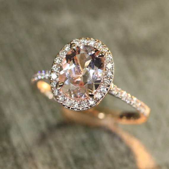 Mariage - Halo Diamond and Morganite Engagement Ring in 14k Rose Gold 9x7mm Oval Peach Pink Morganite Ring Pave Diamond Wedding Band