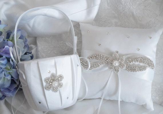 Mariage - Flower Girl Basket, Ring Bearer Pillow, Wedding Basket and Pillow Set - Style 350