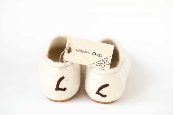 Wedding - Personalized slippers - Felted wool clogs white honey heart - wedding gift - brides gift - valentines day present