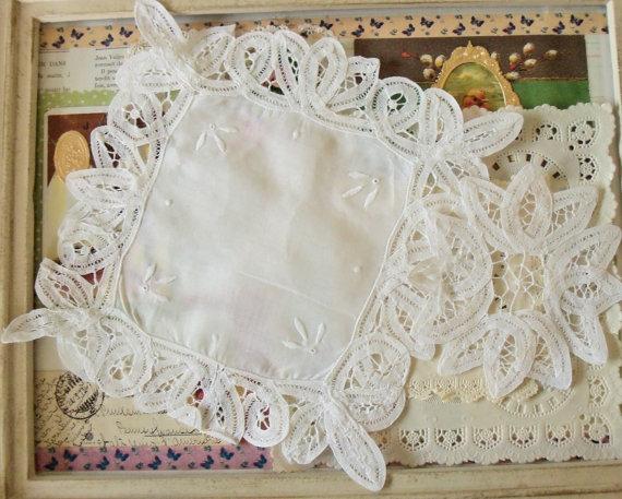 """Wedding - Battenburg Lace Doilies / Vintage / Two / Cotton Linen Fabric / 5"""" and 9"""""""