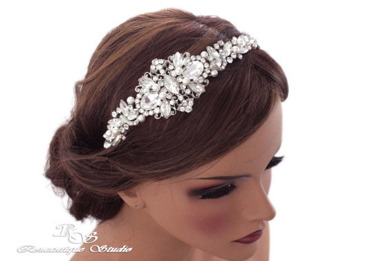 Wedding - Vintage style bridal headband wedding crystal pearl rhinestone headpiece hairpiece tiara hair piece 3138 IN STOCK