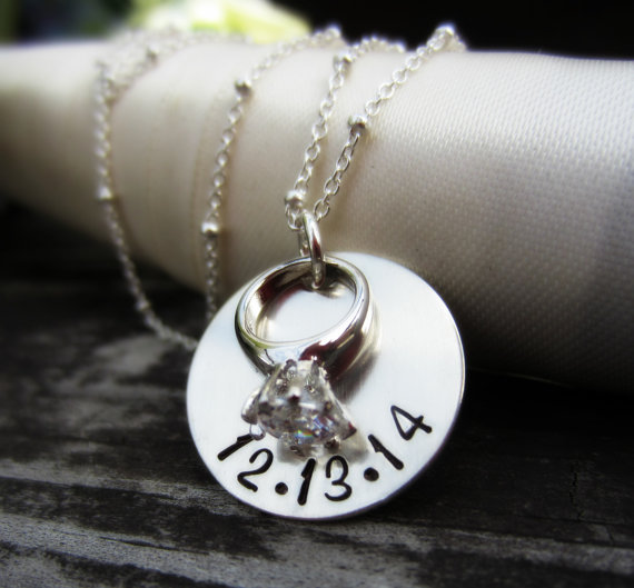 Engagement Necklace Wedding Date Jewelry Personalized Engagement