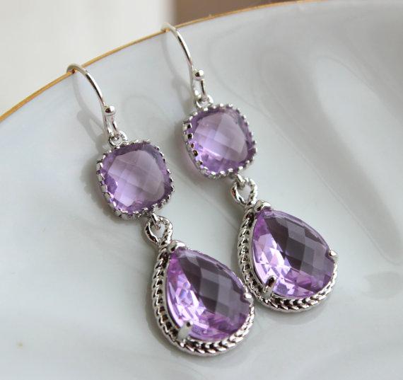 Silver Lavender Earrings Lilac Purple Jewelry Teardrop Gl Two Tier Bridesmaid Wedding