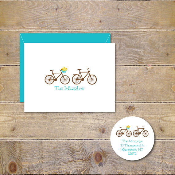 Wedding - Bicycle Wedding Thank You Cards, Bike Wedding Thank You Cards, Bridal Shower Thank You Cards, His And Her Bikes, Bicycles