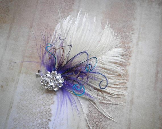 زفاف - Ivory bridal, Feathered, Fascinator, Facinator, Head Piece, Feather, Hair Piece, Wedding, Accessories, Purple, Blue - IVORY PURPLE PASSION