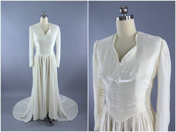 Vintage 1930s Wedding Dress Ivory Silk Velvet Bridal Gown Winter Size Xs 0 2