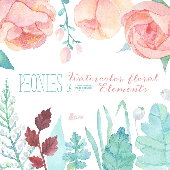 Hochzeit - Peonies Watercolor Floral Elements Clipart. Hand painted flowers, separate, wedding diy elements, greeting, invite, printable, blossom, pink