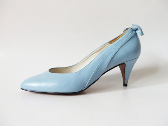 Vintage 80s Light Blue Wedding Shoes With Bow Genuine Leather Pointed Pumps  Pale Blue High Heels Mother Of The Bride Shoes EUR 38 UK 5 US 7