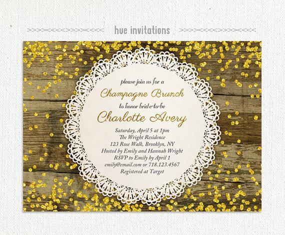 زفاف - rustic bridal brunch invitation, gold glitter champagne brunch bridal shower invitation, gold confetti woodgrain lace doily invite, 5x7 520