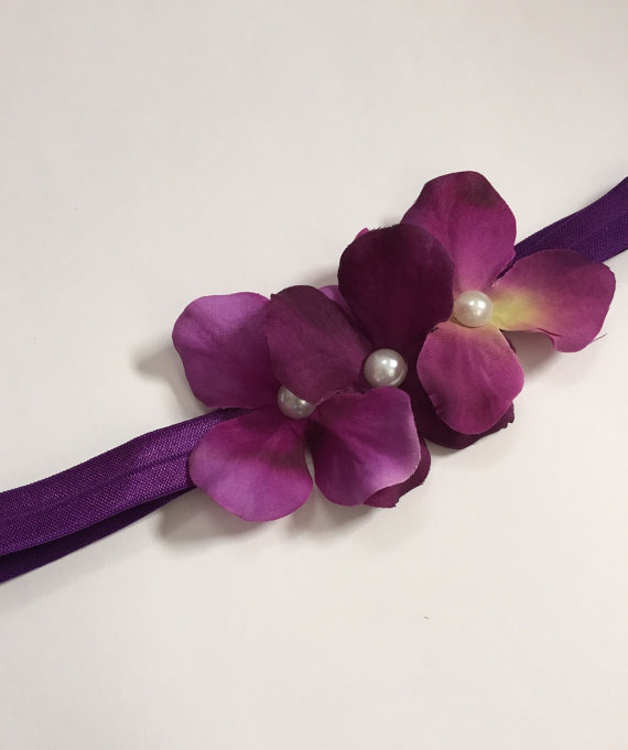 Plum Purple Hydrangea Flower Girl Headband c94e072d7e3