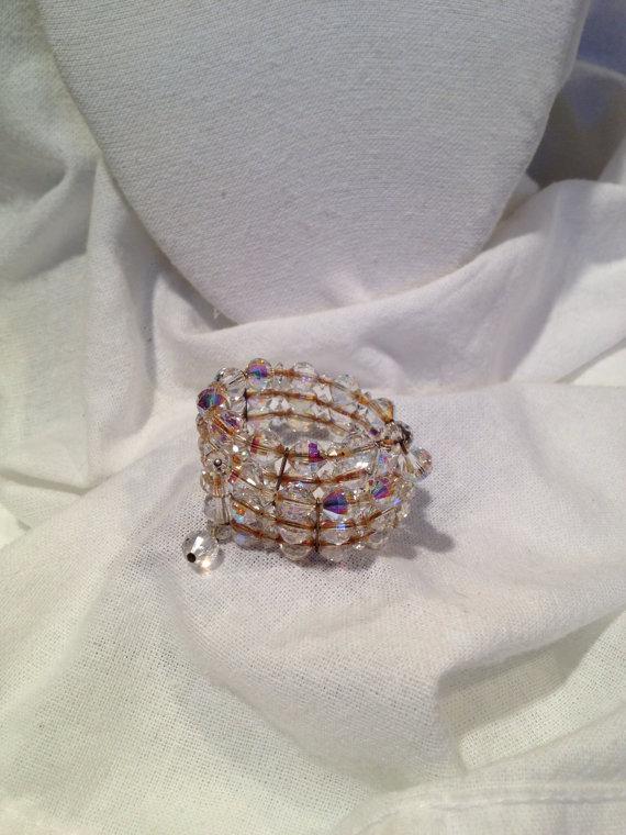 Mariage - Vintage Downton Abbey Crystal Bracelet Aurora Borealis Wedding